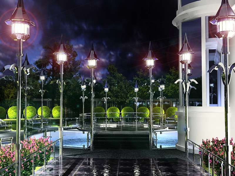Вид на сцену, вечернее освещение
